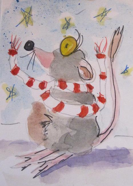 Art: Chilly Mouse Aceo by Artist Delilah Smith