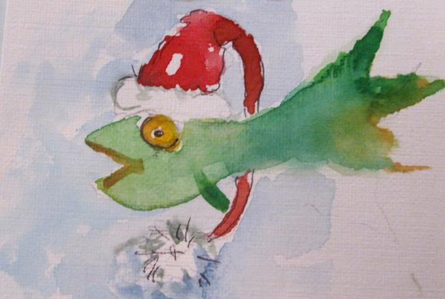 Art: Christmas Fish by Artist Delilah Smith