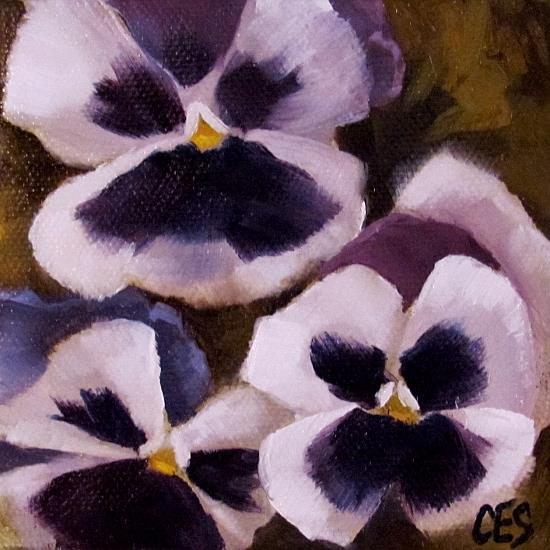 Art: White and Purple Pansies by Artist Christine E. S. Code ~CES~