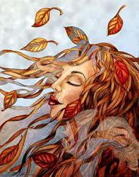 Art: Yellow Leaves and Gossamer by Artist Alma Lee