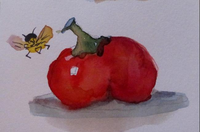 Art: Tomato and Bee by Artist Delilah Smith