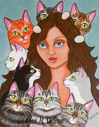 Art: Cat Lady Custom Painting by Artist Lisa M. Nelson
