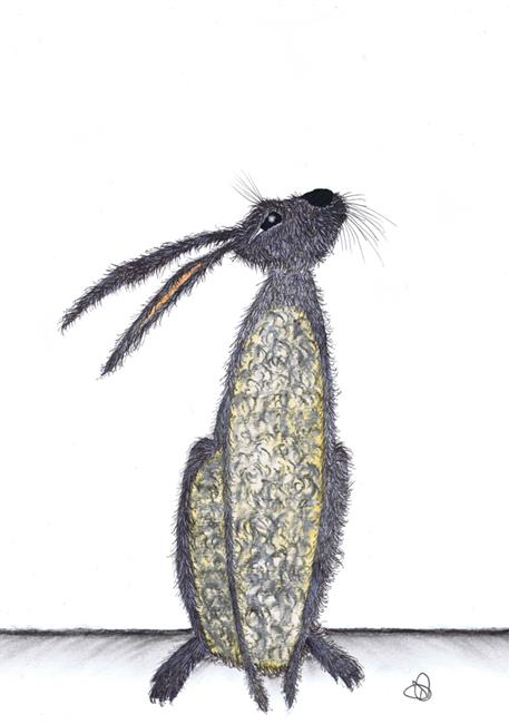 Art: GREY HARE h3201 by Artist Dawn Barker