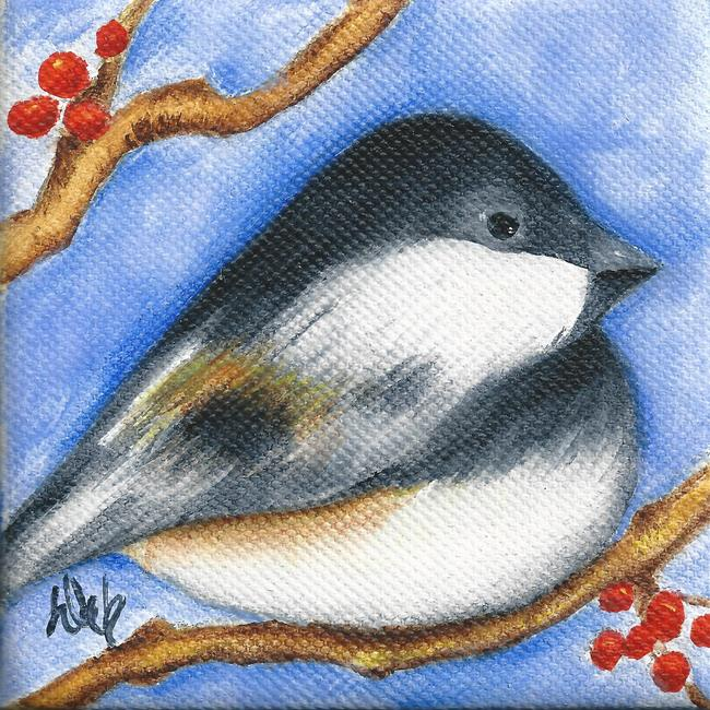 Art: Winter Chickadee II by Artist Deb Harvey