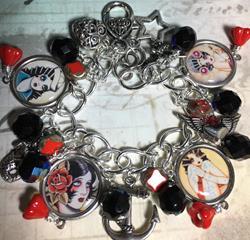 Art: Tattoo Altered art charm bracelet, handmade , soak by Artist Lisa  Wiktorek