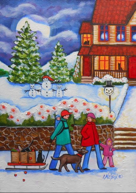 Art: Christmas Family Original Oil Painting by Artist Lisa M. Nelson