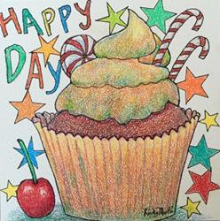 Art: Happy Day Cupcake by Artist Ulrike 'Ricky' Martin