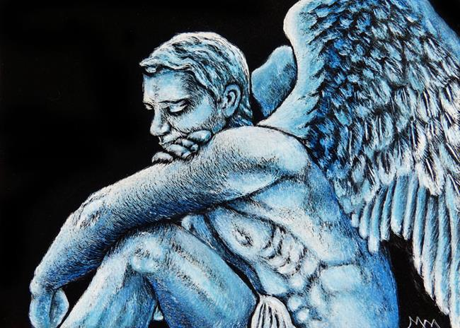 Art: Male Angel  (SOLD) by Artist Monique Morin Matson