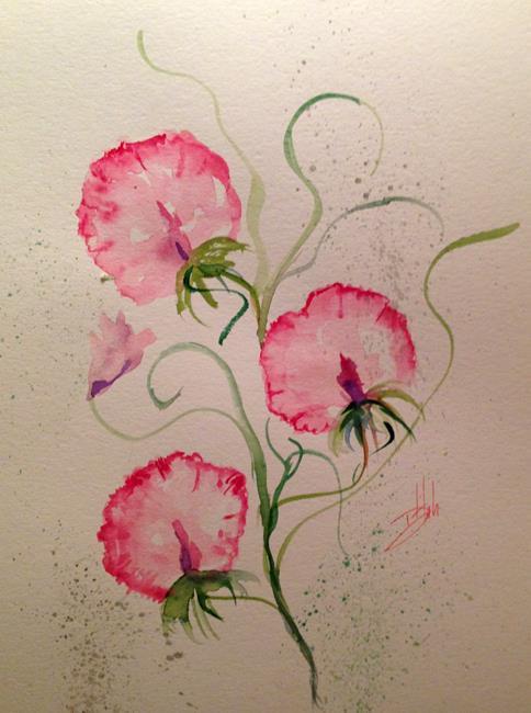 Art: Sweet Peas by Artist Delilah Smith