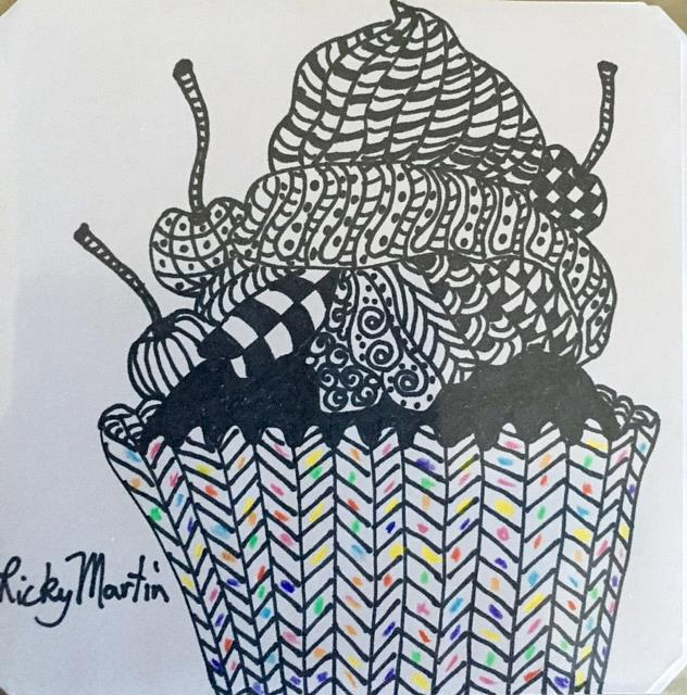 Art: Zentangle Inspired cupcake by Artist Ulrike 'Ricky' Martin