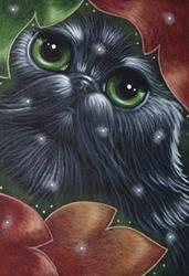 Art: HOLIDAY BLACK PERSIAN CAT BEHIND THE LEAVES & SNOW by Artist Cyra R. Cancel