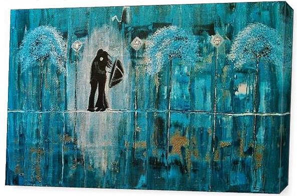 Art: Turquoise Rain Romance (sold) by Artist Amber Elizabeth Lamoreaux