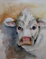 Art: White Cow by Artist Delilah Smith