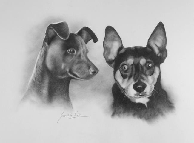 Art: Portrait of two dogs by Artist Ewa Kienko Gawlik