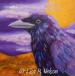 Art: Crow Oil Painting by Artist Lisa M. Nelson