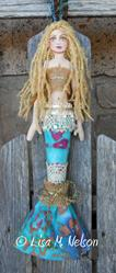Art: Mermaid Cloth Art Doll by Artist Lisa M. Nelson