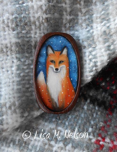 Art: Red Fox in Winter Brooch Pendant by Artist Lisa M. Nelson