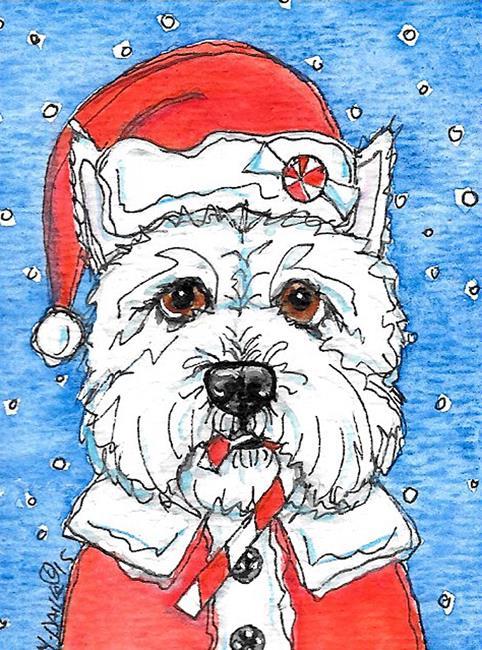 Art: Westie Claus by Artist Melinda Dalke