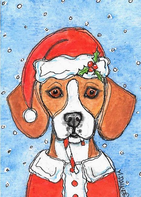Art: Santa Beagle Dog by Artist Melinda Dalke