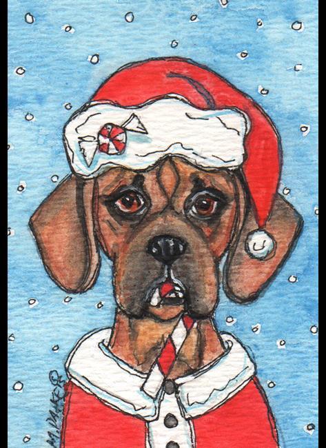 Art: Santa Puggle by Artist Melinda Dalke