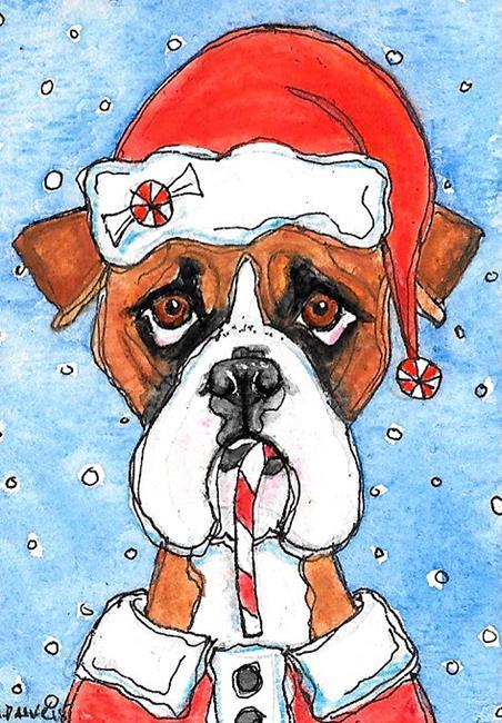 Art: Boxer Claus by Artist Melinda Dalke