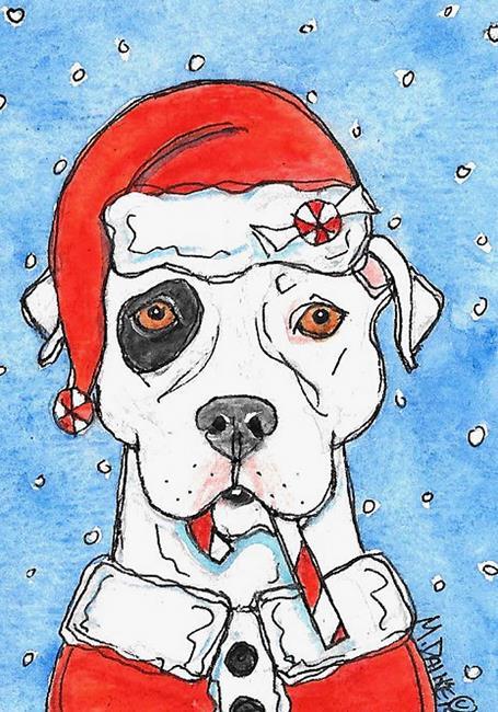 Art: Santa Pit Bull by Artist Melinda Dalke