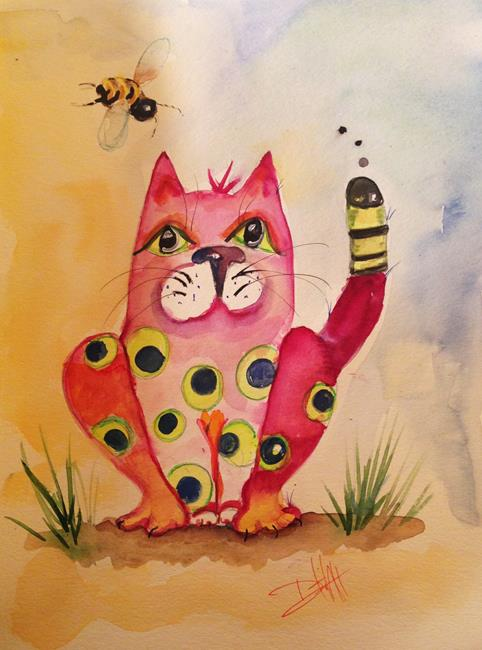 Art: Poks-Dot Cat and Bee by Artist Delilah Smith