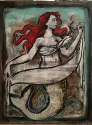 Art: Red the Mermaid by Artist Chris Jeanguenat