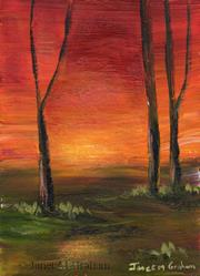 Art: Sunset ACEO by Artist Janet M Graham