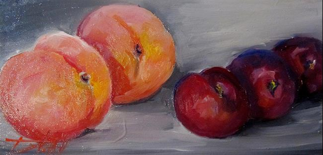 Art: Peaches,Blueberries,and Plums by Artist Delilah Smith
