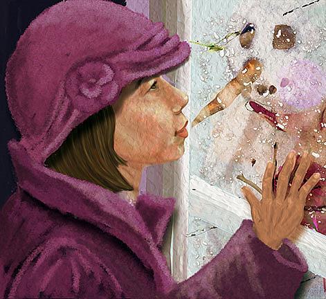 Art: A Snowman's  Friend by Artist Alma Lee