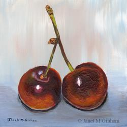 Art: Two Cherries by Artist Janet M Graham