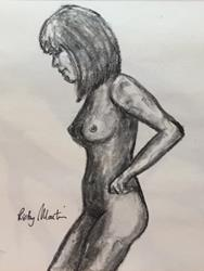 Art: charcoal sketch female nude by Artist Ulrike 'Ricky' Martin