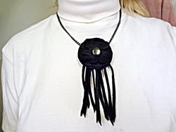Art: Leather Flower Centered Necklace by Artist Vicky Helms