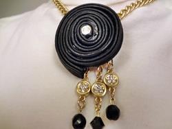Art: Leather Twirl Necklace by Artist Vicky Helms