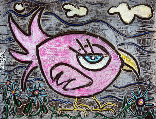 Art: Pink Parrot by Artist Laura Barbosa
