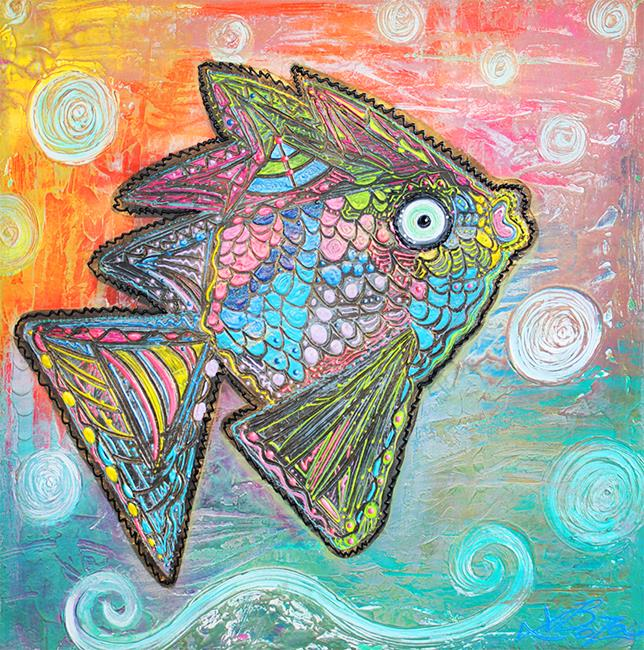 Art: Psychedelic Fish by Artist Laura Barbosa