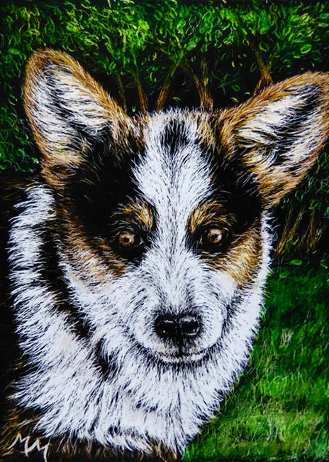 Art: Corgi - SA94  (SOLD) by Artist Monique Morin Matson