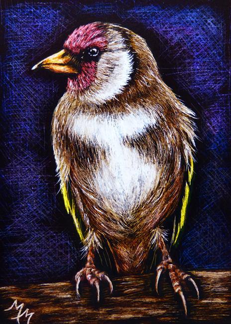 Art: Finch - SA95  (SOLD) by Artist Monique Morin Matson