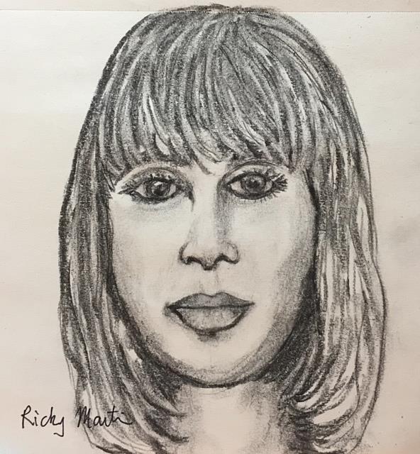Art: Charcoal sketch portrait by Artist Ulrike 'Ricky' Martin