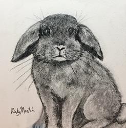 Art: Charcoal Sketch Bunny by Artist Ulrike 'Ricky' Martin
