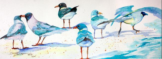 Art: SIX SANDPIPER BEACH by Artist Marcia Baldwin