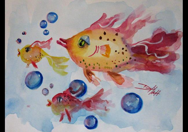 Art: Yellow and Pink Fish by Artist Delilah Smith