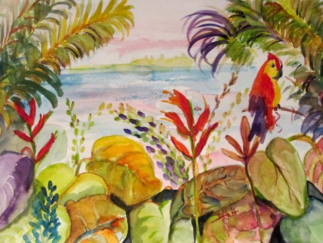 Art: Tropical Parrots by Artist Delilah Smith