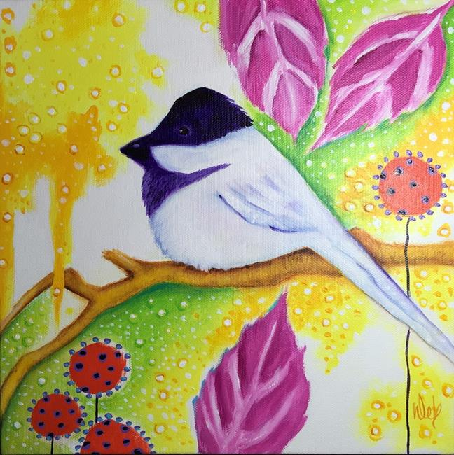 Art: Enchanted Forest Chickadee by Artist Deb Harvey