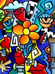 Art: Original Abstract Pop Art Biomechanical Love by Artist Thomas C. Fedro