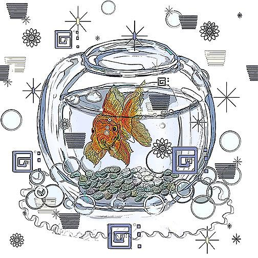 Art: I am Beggin' You: Goldfish in a bowl by Artist Alma Lee