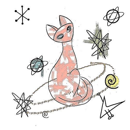 Art: Atomic Cat, Fabric repeat tile by Artist Alma Lee
