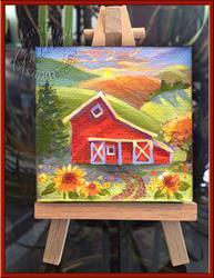Art: Americana Country Barn - Petite Peinture by Artist Patricia  Lee Christensen