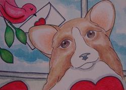 Art: VALENTINE WELSH CORGI DOG 1 by Artist Cyra R. Cancel